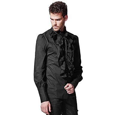 Peony Ghost Gothic Steampunk Men Black Ruffle Blouses Retro Victorian Cotton Stand Up Collar Shirts