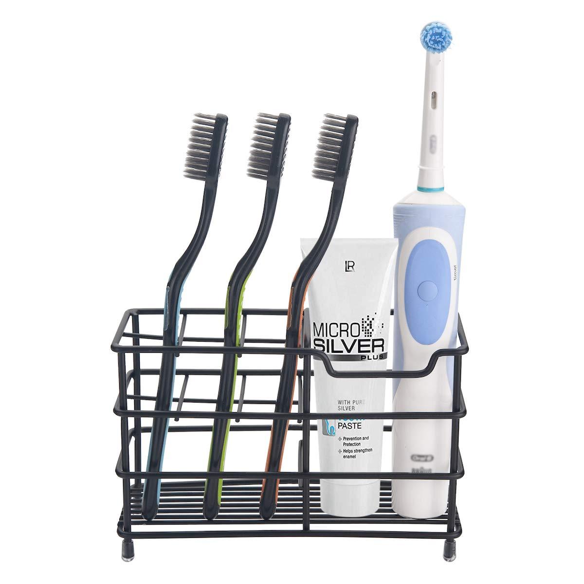 Amazer Toothbrush Holder Stainless Steel Rustproof Metal Bathroom Silver