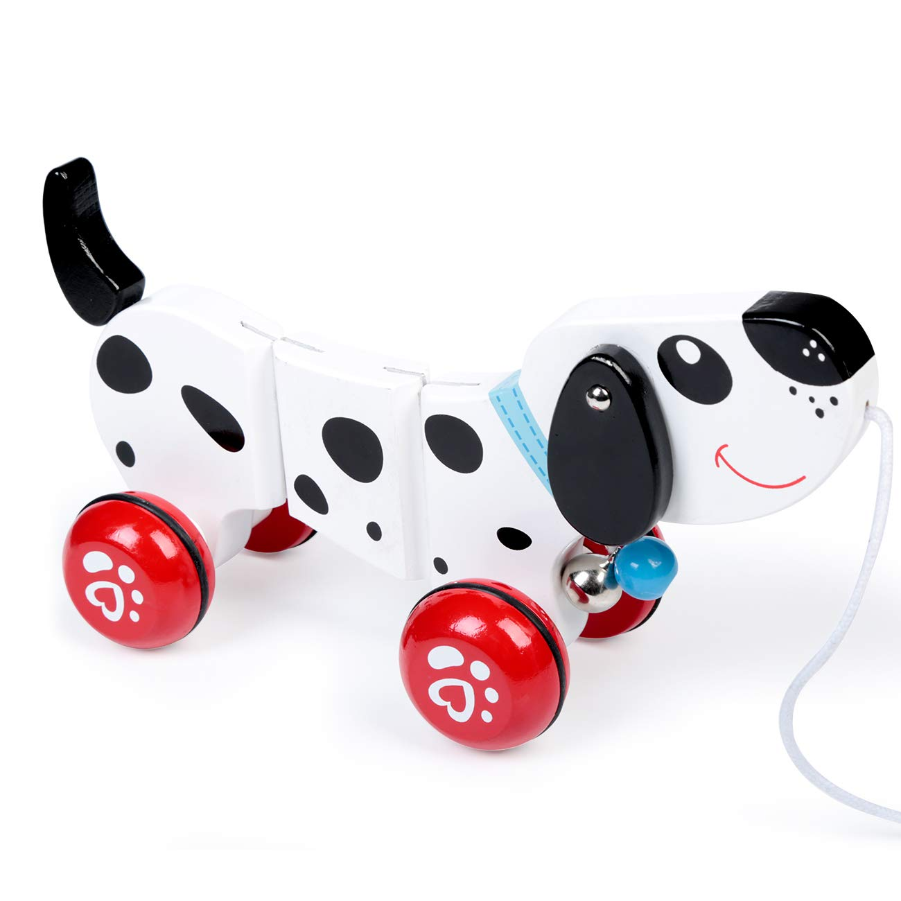 RUYU Puppy Wooden Push-Along Walking Toy for Beginner Walkers,Helps Fine Sports Skills, Spotty Dog, Rubber Rimmed Wheels for Easy Push and Pull Action, Classic Developmental Pull Toy