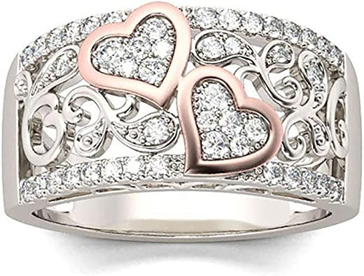 Jhdghd Women Imitation Diamond Ring Band Heart Shape Stainless