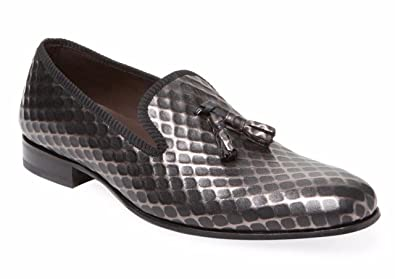 Hilbert Embossed Black Leather Tassel Loafers Men's Size 8.5
