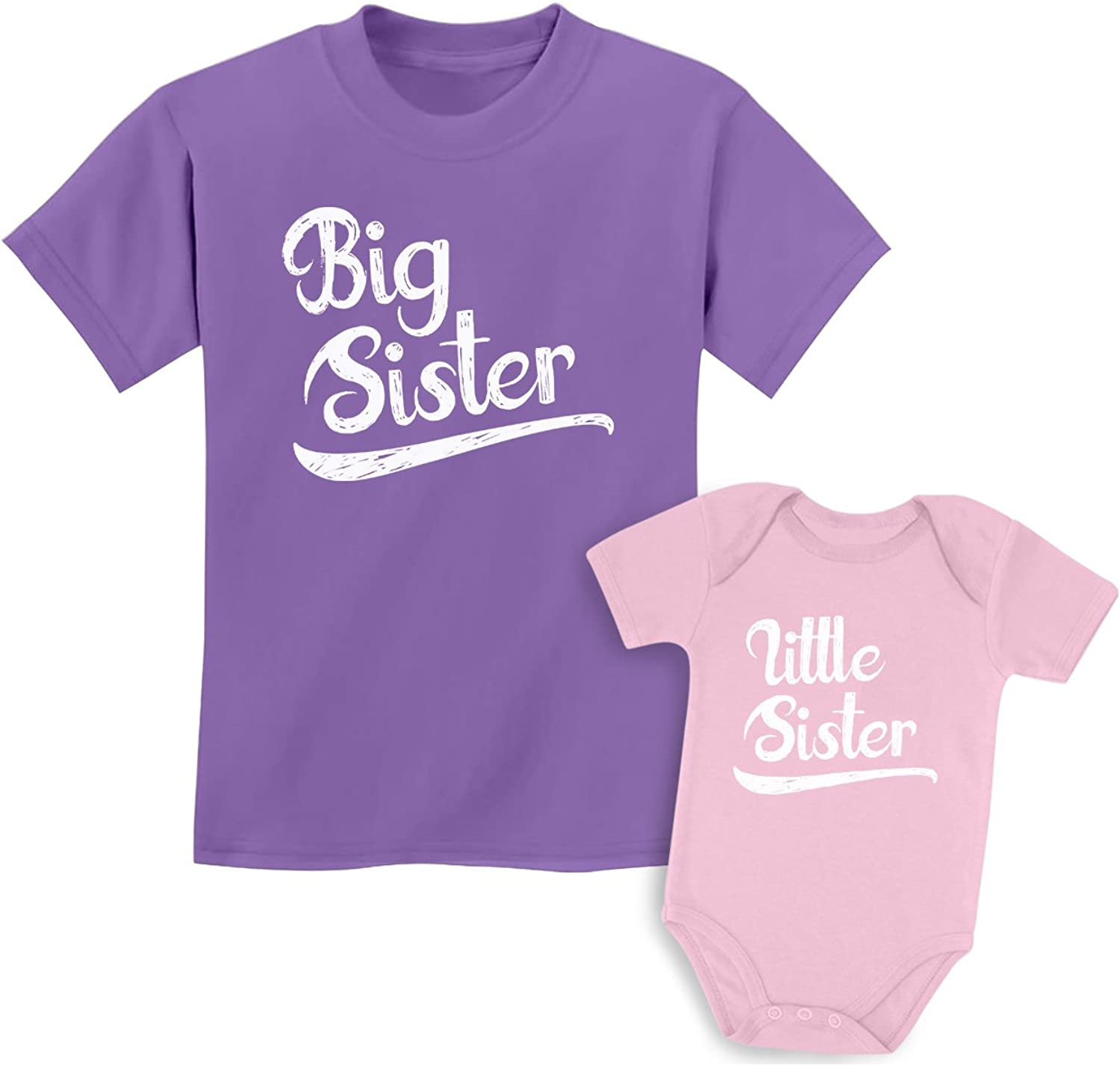 Little Sister T-Shirt Arrow Heart Kids Baby Grow Sisters Outfits Set Matching Big Sister