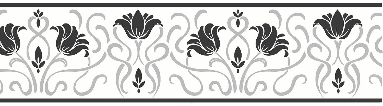 Fine Décor - Striscia decorativa autoadesiva Luella, lunghezza 5 m, colore: Bianco/Nero Fine Decor FDB07505S
