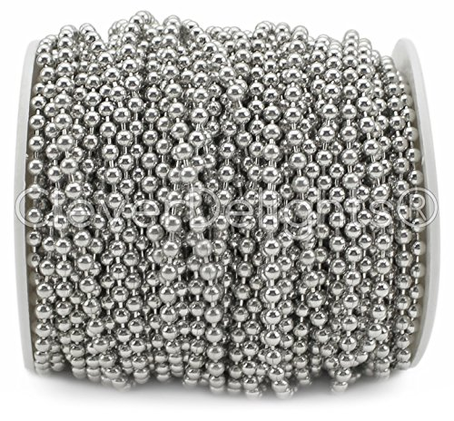 Colours Chain 6 - CleverDelights Ball Chain Spool - 30 Feet - 3.2mm Ball - Antique Silver (Platinum) Color - #6 Size
