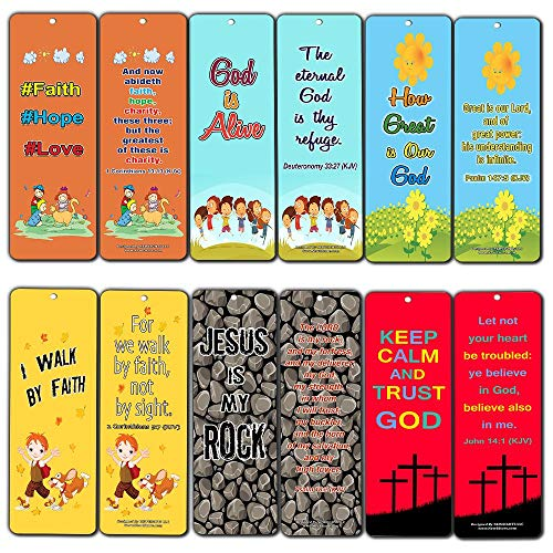 Kids Christian Bookmarks (60-Pack) - Bulk Bible Verses Bookmarker for Boys and Girls - Stocking Stuffers for Easter Birthday Homeschooling Sunday School Thanksgiving Christmas by NewEights