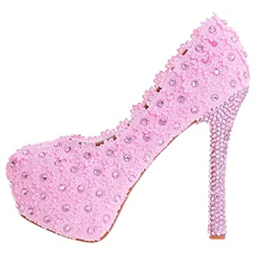 TDA Women s Elegant Lady Pink Lace Wedding Party Dress Stiletto Pumps 3.5  B(M) 7487f10ce
