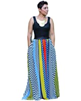 Flank Women Summer New Bohemian Stripe Print Long Maxi Party Dresses