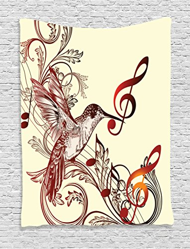 Ambesonne Hummingbirds Decorations Collection, Flying Bird and Music Notes Clef Five Line Staff Musical Creative Image, Bedroom Living Room Dorm Wall Hanging Tapestry, Burgundy Cream (Hummingbird Wall Hanging)