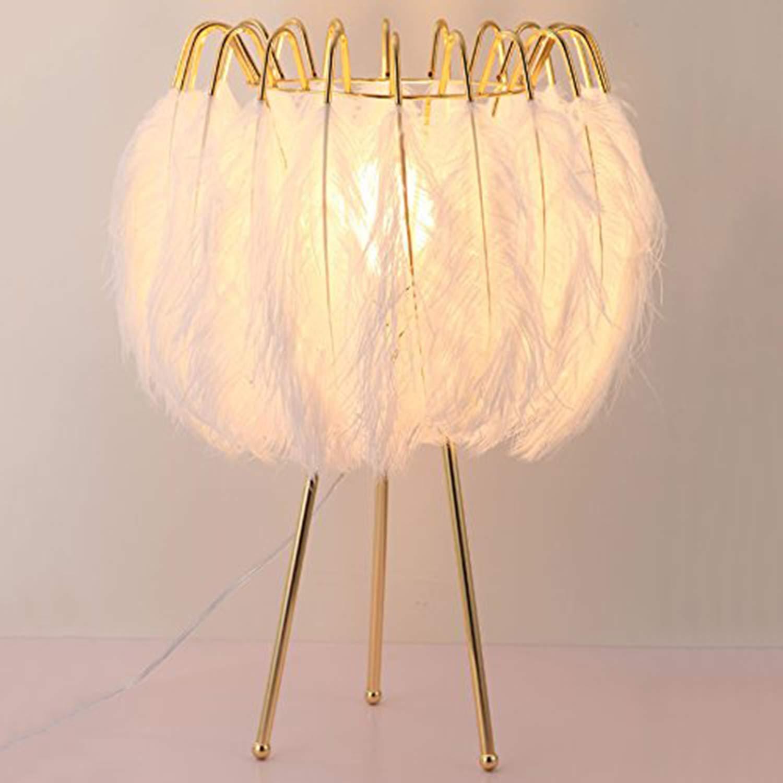 Feather Tischleuchte Nordic Moderne Einfache Warme Wohnzimmer Schlafzimmer Kinderzimmer Kunst Beleuchtung Weiß Einstellbare Bambus 100 (Mm)