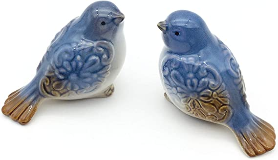 Ficiti Set Of 2 Ceramic Bird Figurines Flower Embellished Garden Statue Home Decor Mini Bird Ornaments Home Kitchen Amazon Com