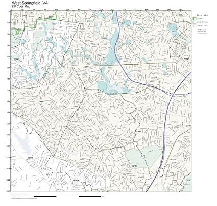 Springfield Va Zip Code Map.Amazon Com Zip Code Wall Map Of West Springfield Va Zip Code Map