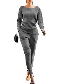 997aeefcc4 Womens Fall Rib-Knit Pullover Sweater Top   Long Pants Set 2 Piece Outfits  Tracksuit