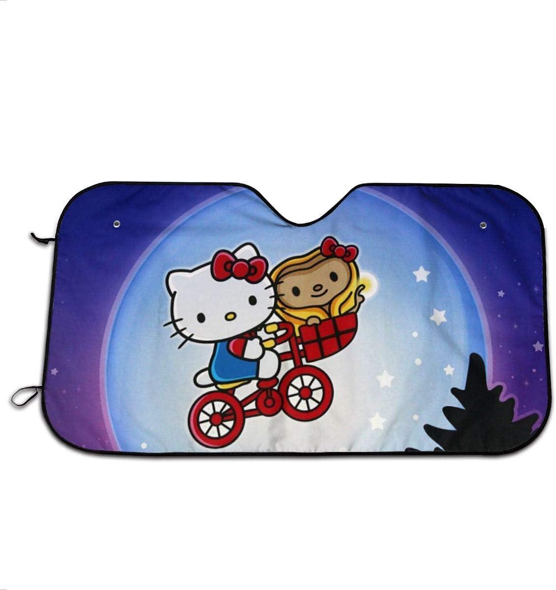 CHLING Windshield Sun Shade Hello Kitty Witn Moon Car Window Shade to Keeps Your Vehicle Cool Heat Shield Shade