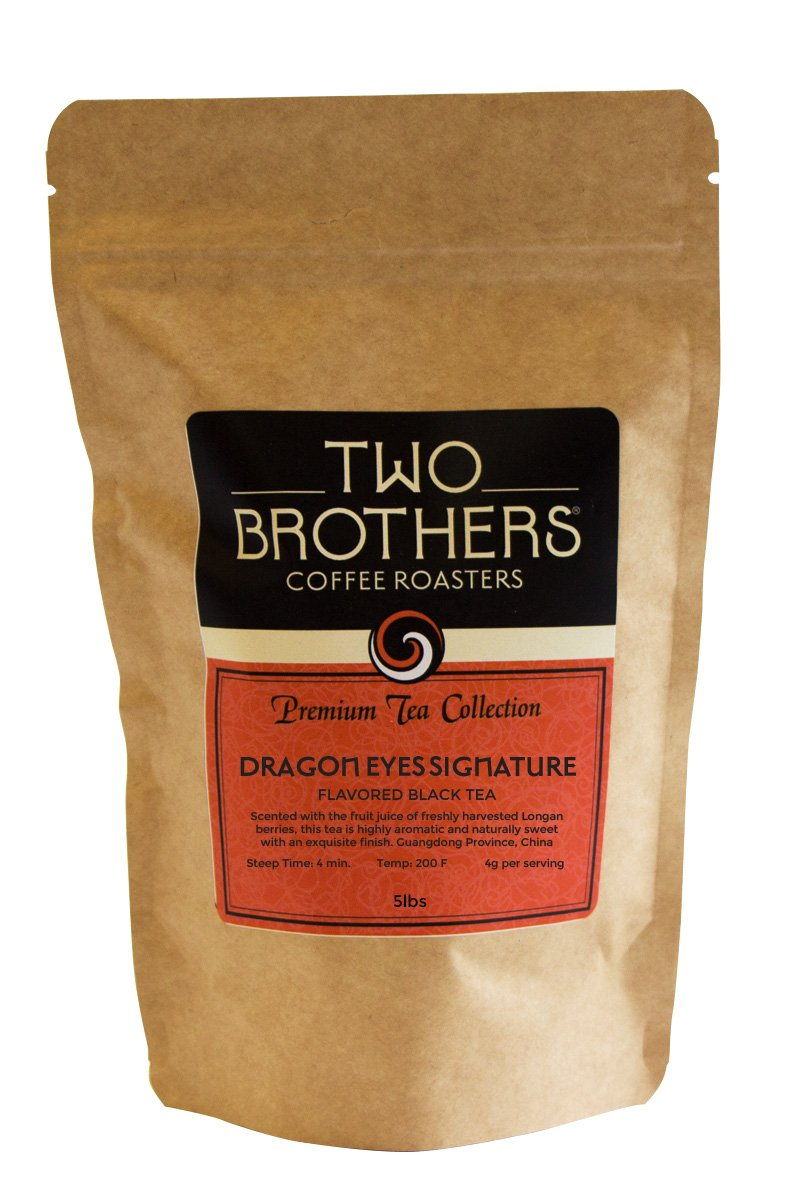 Two Brothers Coffee Roasters Premium Tea Collection Dragon Eyes Black (flavored with Longan Fruit) (hot or iced) - 5lb by Two Brothers Premium Teas