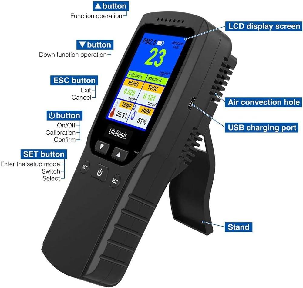 ETE ETMATE Detector de calidad del aire multifuncional HCHO Detector TVOC PM2.5//1.0//10 Temperatura Humedad Monitor de grabaci/ón con pantalla LCD colorida