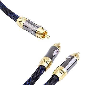 KUYIOHIFI Cable de Audio/subwoofer RCA 1 Macho a 2 machos(1.5m)