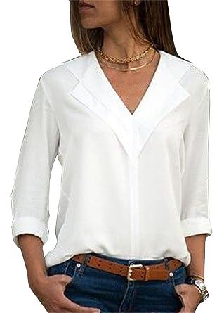 acbaa52c28255 Aswinfon Chemise Femme Manche Longue Col V Casual Blouse Fluide Chic  Classique Top Tunique (Blanc