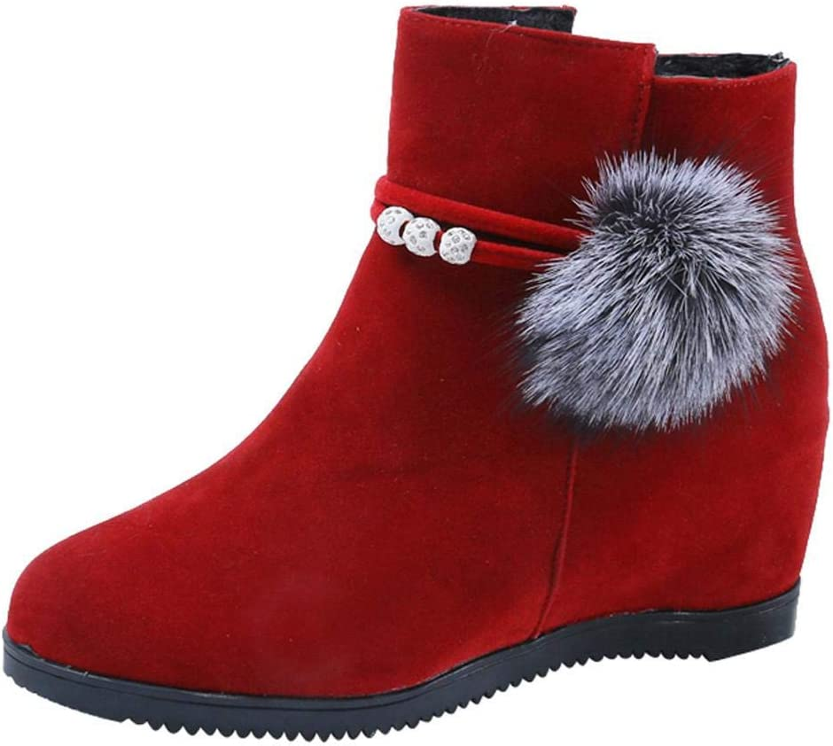 Logobeing Botines Mujer Planos Tacon Zapatos de Mujer Plataforma Botas de Cuña de Punta Redonda con Cremallera Altas Boots Zapatos Calzado(39,Rojo)