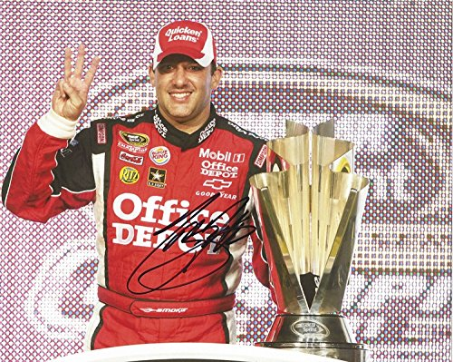 AUTOGRAPHED 2011 Tony Stewart #14 Office Depot Racing 3X NASCAR CHAMPION (Victory Lane Trophy Pose) Homestead Signed Collectible Picture NASCAR 8X10 Inch Glossy Photo with COA - Office Depot Racing