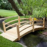 Natural Wood Finish 72'' Garden Bridge Outdoor Yard Lawn Landscaping Decor