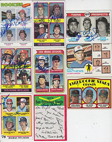 1977 TOPPS ROOKIE PITCHERS CARD SIGNED BY 3/4 BARKER MINTON LERCH GIANTS # - Minton Pitcher