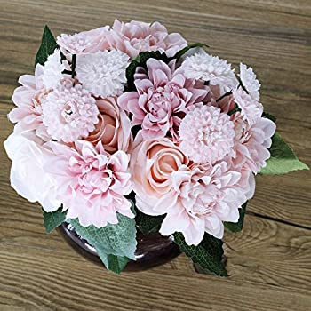 Silk Flower Artificial Rose Dahlia Daisy Bouquet Bride Wedding Holding Flowers For Home Hotel Party