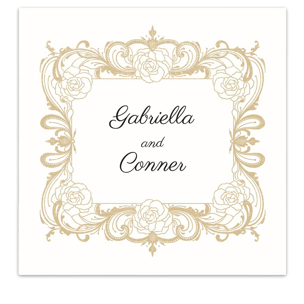 Rose Floral Frame Crest Personalized Beverage Cocktail Ooh La Color Napkins - 100 Custom Printed Paper Napkins by Canopy Street