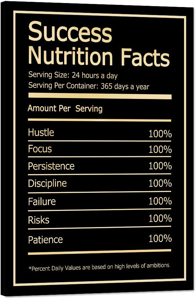 """Success Nutrition Facts Motivational Wall Art Inspirational Entrepreneur Quotes Painting Prints on Canvas Modern Inspiring Posters Pictures Framed Wooden Artwork Home House Office Decor (12""""Wx18""""H)"""