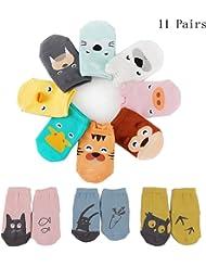 11 Pairs per Pack,Anti-Slip Grip Soles Cozy Cartoon for boys, girls, baby, toddler & child Socks,0-2 years,2-4 years