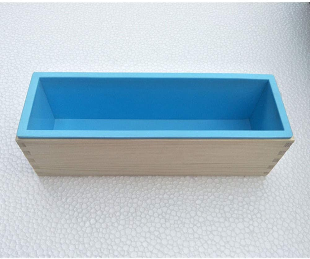 AC8grg 42 Ounce Rectangular Soap Silicone Loaf Mold Wood Box Set for Soap Toast Candle Making Blue 2 in 1