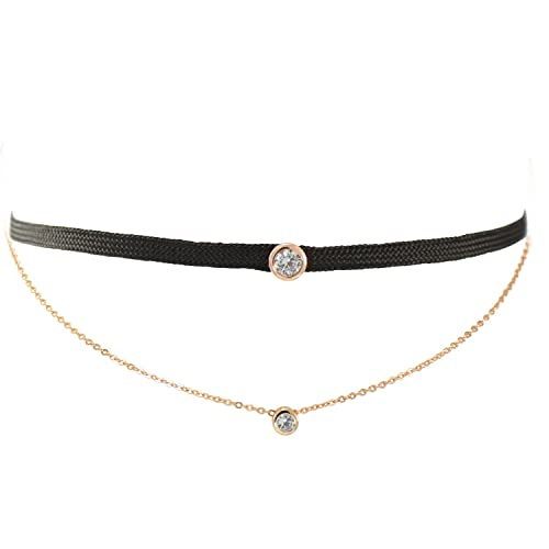1647a1165 TIKIVILLE Paialco Cubic Zirconia Black Choker Necklace Double Layers  Sterling Silver Rose Gold Plated