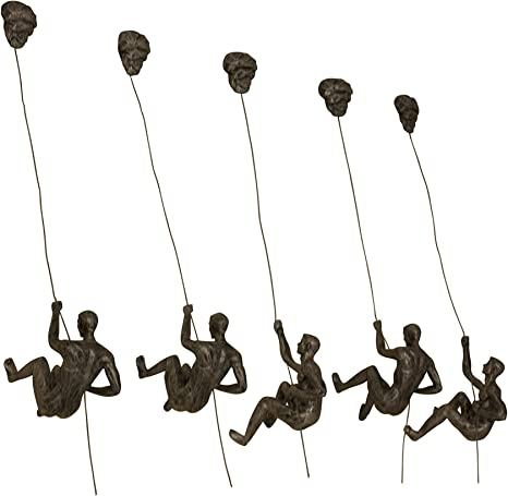 Haute Collage 5X Grandes Adornos Colgantes de Rappel de Escalada de Plata Antigua Figuras Conjunto de 5 Hombres Ornamento de Rappel Escultura Arte de ...