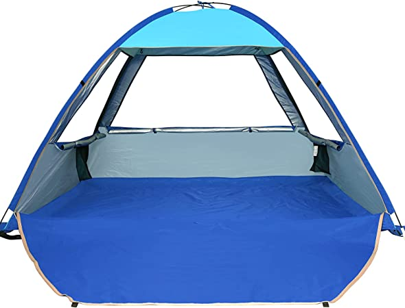 COMMOUDS X-Large Pop Up Beach Tent Automatic Sun Shelter Cabana Easy Set Up Light Weight Camping Fishing Tents 4 Person Anti-UV Portable Sunshade for Family Adults