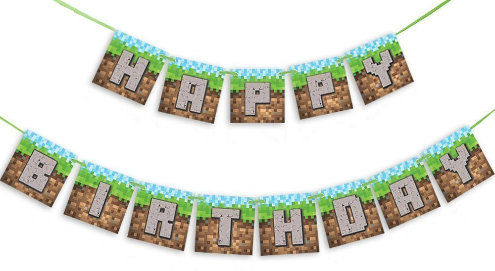 6' Pixel Party Banner, Pixel Party Decoration, Kids Party Supplies