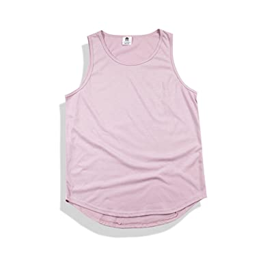 SHILINWEI Summer Fashion Men Hip Hop Extend Long Tanktop Cotton Vest Sleeveless Solid Tops at Amazon Mens Clothing store: