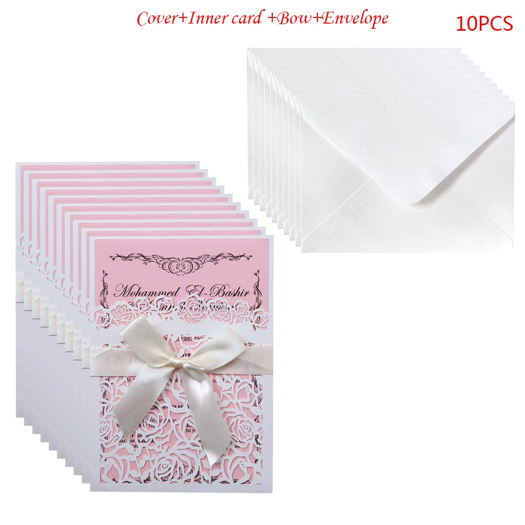 BINGHONG3 10pcs//set Glitter Hollow Rose Invitations Cards Cover Kits With Bow Ribbon For Wedding Bridal Shower Birthday Engagement