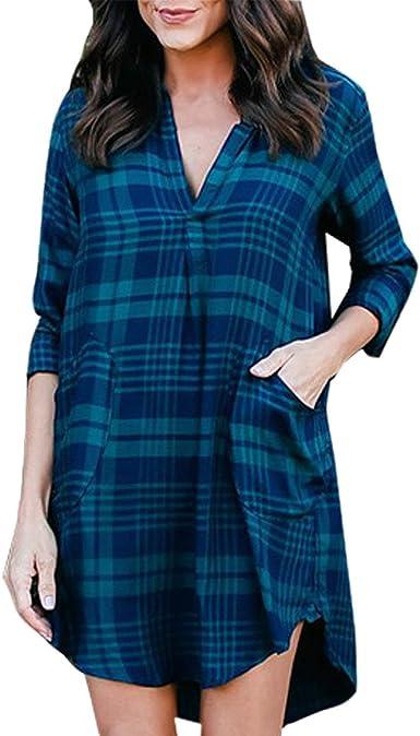 Camisa De Mujer hasta La Rodilla Vestido Azul Manga Larga Retro con Cuello En V Camisa De Blusa A Cuadros Camisa De Vestir Camisa De Verano Vacaciones En La Playa: Amazon.es: Ropa