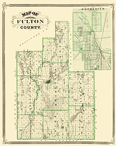 MAPS OF THE PAST Fulton Indiana Landowner - Baskin 1876-23 x 29.04 - Matte Canvas