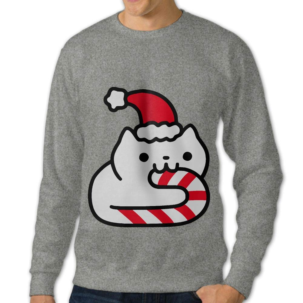 Candy Cane Cat Adult Mens Casual Long Sleeve Hoodie T-Shirts