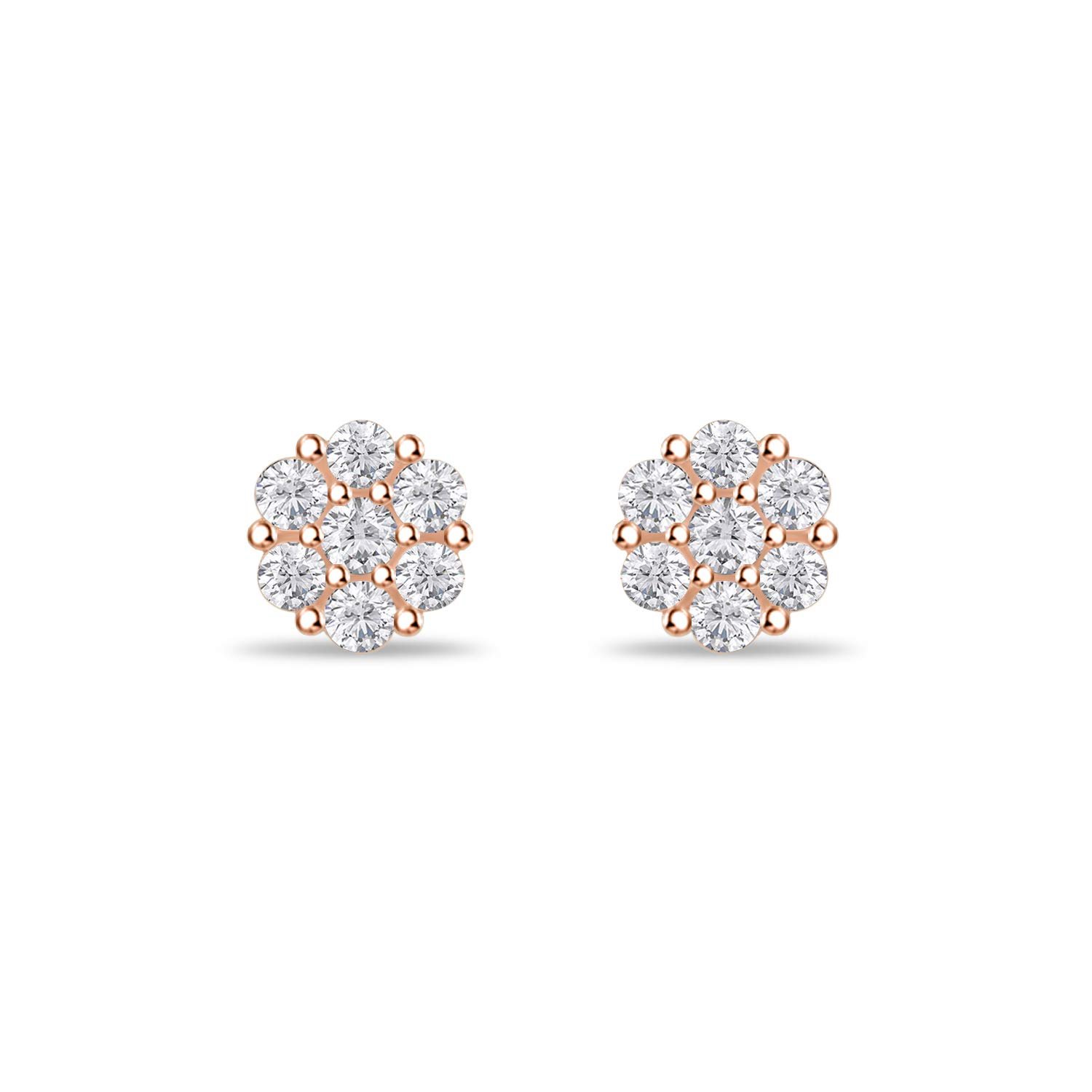 7mm Round Cubic Zirconia Cluster Flower Stud Earrings Love Gift to Dear One 14k Gold Over