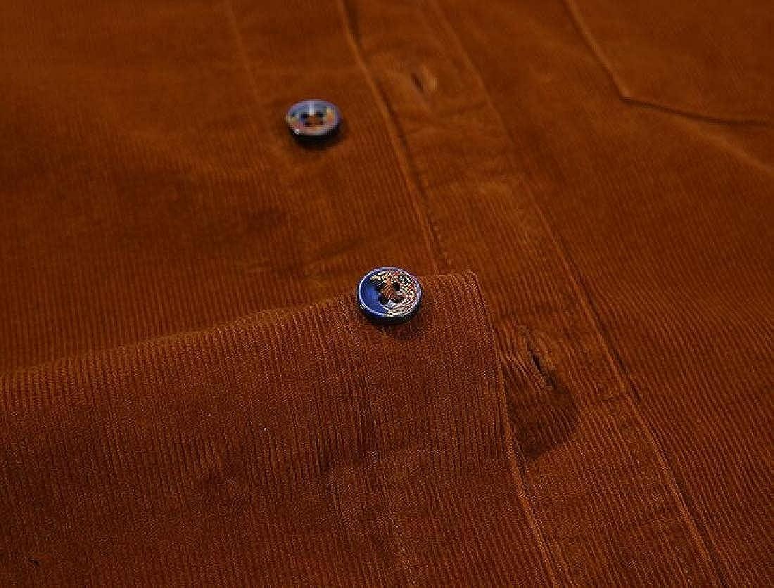 Fubotevic Men Slim Long Sleeve Corduroy 纯色休闲商务 Button Up Dress Work Shirt