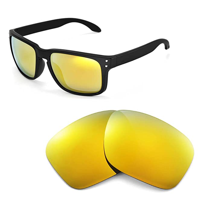 a935af34ec0 Walleva Replacement Lenses for Oakley Holbrook Sunglasses - Multiple  Options (24K Gold Mirror Coated - Polarized)  Amazon.co.uk  Clothing