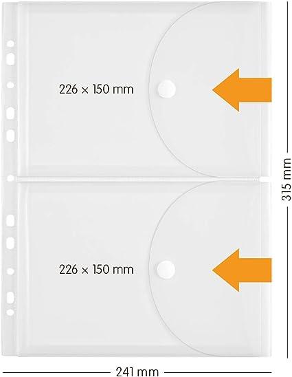 20x Sammeltasche mit Steckverschluss A4 oder A5 Sammelhülle Dokumentenhülle
