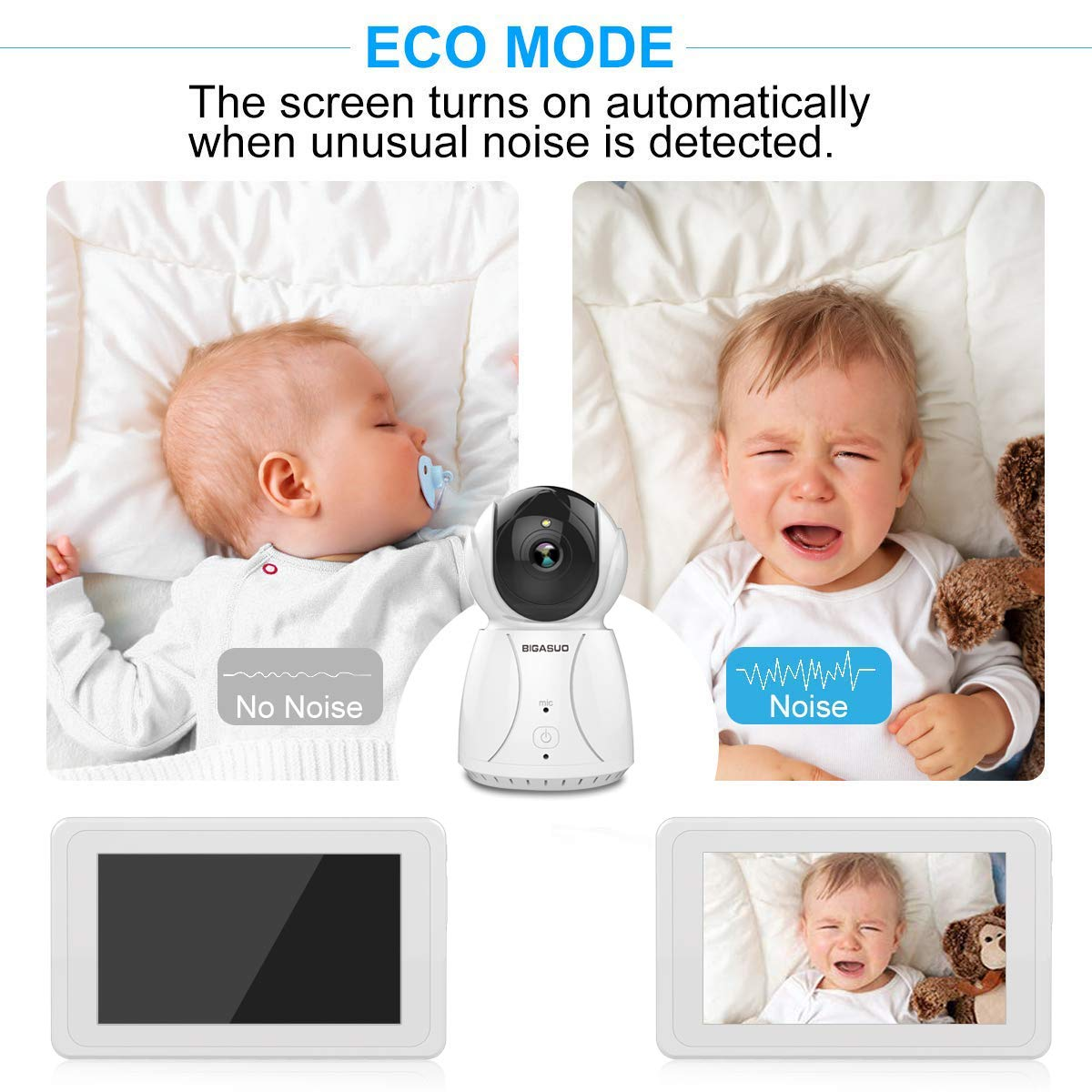 BIGASUO Upgrade Baby Monitor, Video Baby Monitor 7'' Large LCD Screen, Baby Monitors with Camera and Audio Night Vision, Support Multi Camera, Two Way Talk Temperature Sensor, Built-in Lullabies by BIGASUO (Image #6)