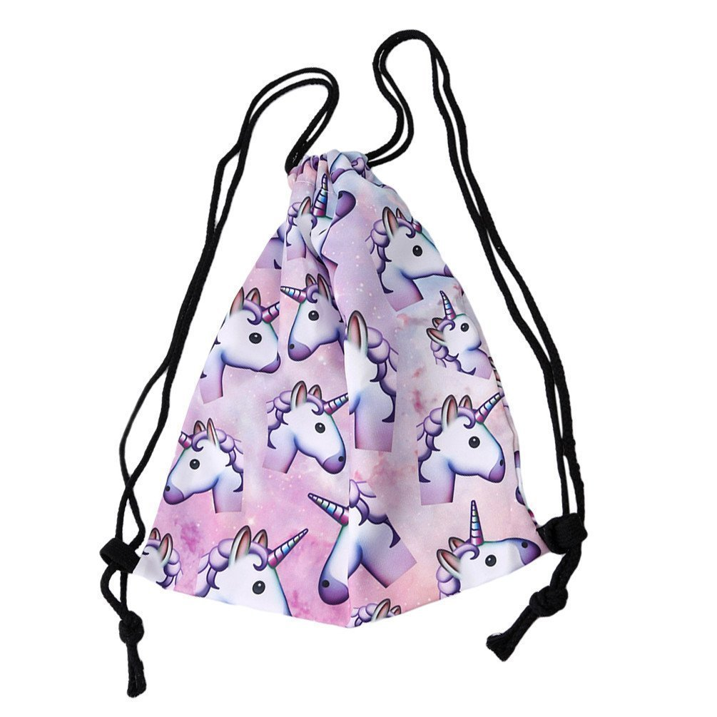 Amazon.com: Ffpazig Fashion 3D Digital Unicorn Print Drawstring Backpack Durable Oxford Bag Fashion Storage Bag Light Pink: Health & Personal Care