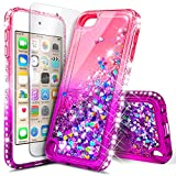 iPod Touch 6th /5th Generation Case, iPod Touch 6/5 with Tempered Glass Screen Protector for Women Girls Kids, NageBee Glitter Sparkle Bling Liquid Floating Waterfall Durable Cute Case -Pink/Purple