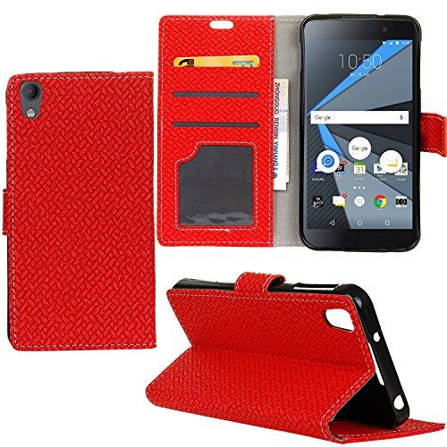 BlackBerry DTEK50 Case Hülle, Leder Schutztasche Standfunktion Klappetui Kartenfächer Brieftasche Handyhülle Für BlackBerry DTEK50 Case Smartphone(Rot)