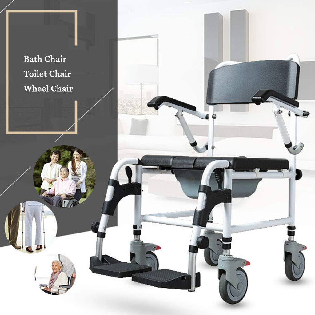 G-LXYZBQSHYP Commode Chair W/Wheels, Toilet Chair for Elderly and Disabled Multifunctional Aluminum Bath Chair with Padded Seat by G-LXYZBQSHYP