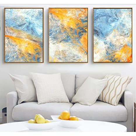 Ndjke Sueño Azul Y Amarillo Pinturas De Lienzo De Arte