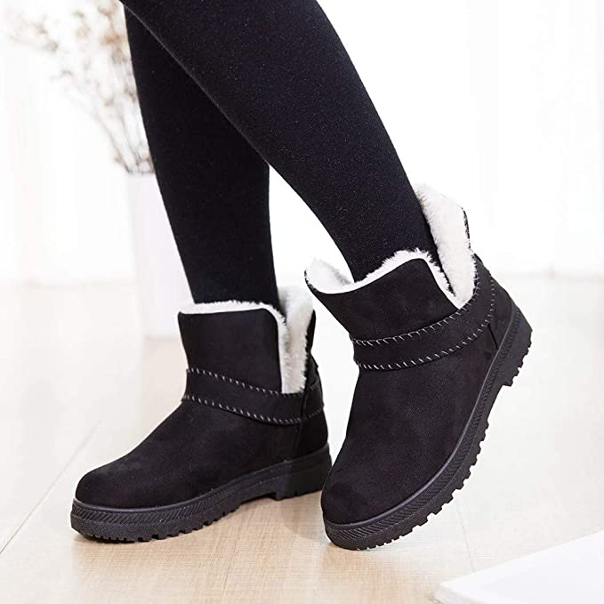 d734d2b04cf5 Amazon.com  Gyoume Women Winter Slip On Boots Ankle Boots Keep Warm Boots  Shoes Flat Snow Short Boots Round Toe Shoes  Clothing